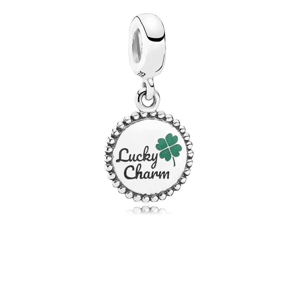 Lucky Dangle Charm, Mixed Enamel, Sterling Silver, Green - PANDORA - #ENG791169_81