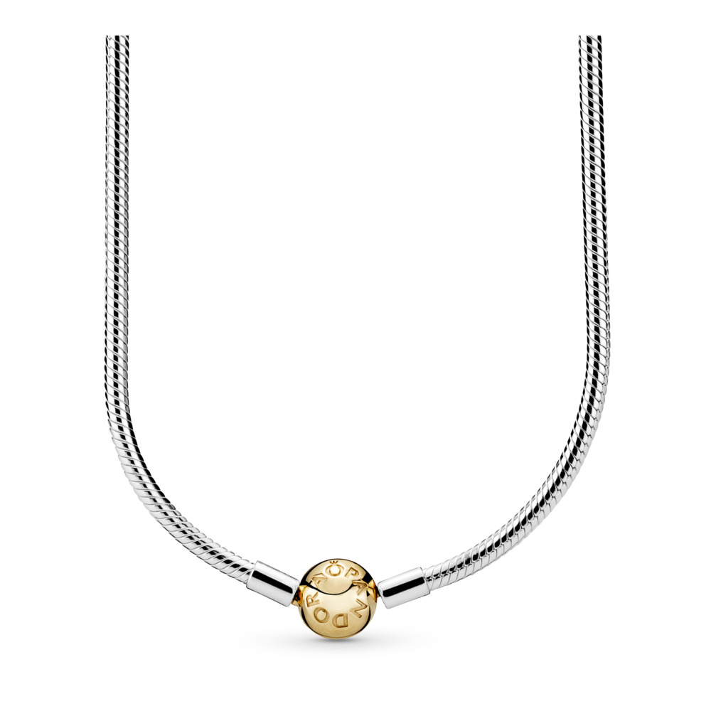 Sterling Silver Charm Necklace with 14K Gold Clasp, Two Tone - PANDORA - #590742HG