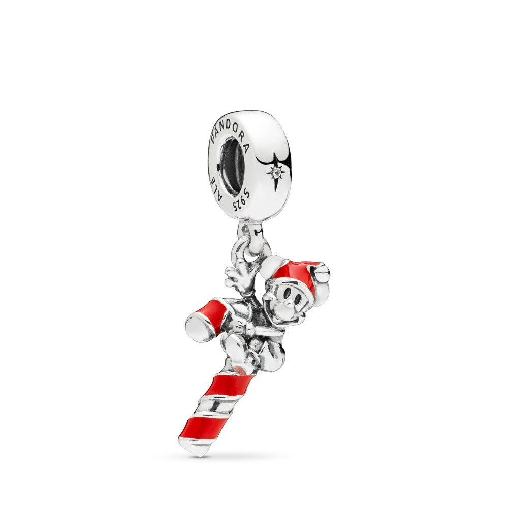 Disney, Santa Mickey's Candy Cane Dangle Charm, Red Enamel, Sterling silver, Enamel, Red, Cubic Zirconia - PANDORA - #797500EN09