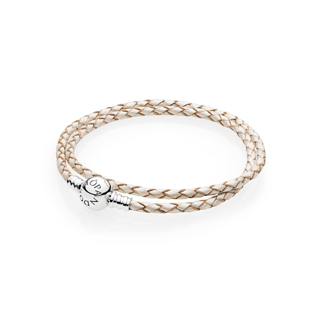 Champagne-Colored Braided Double-Leather Charm Bracelet, Sterling silver, Leather, White - PANDORA - #590745CPL-D