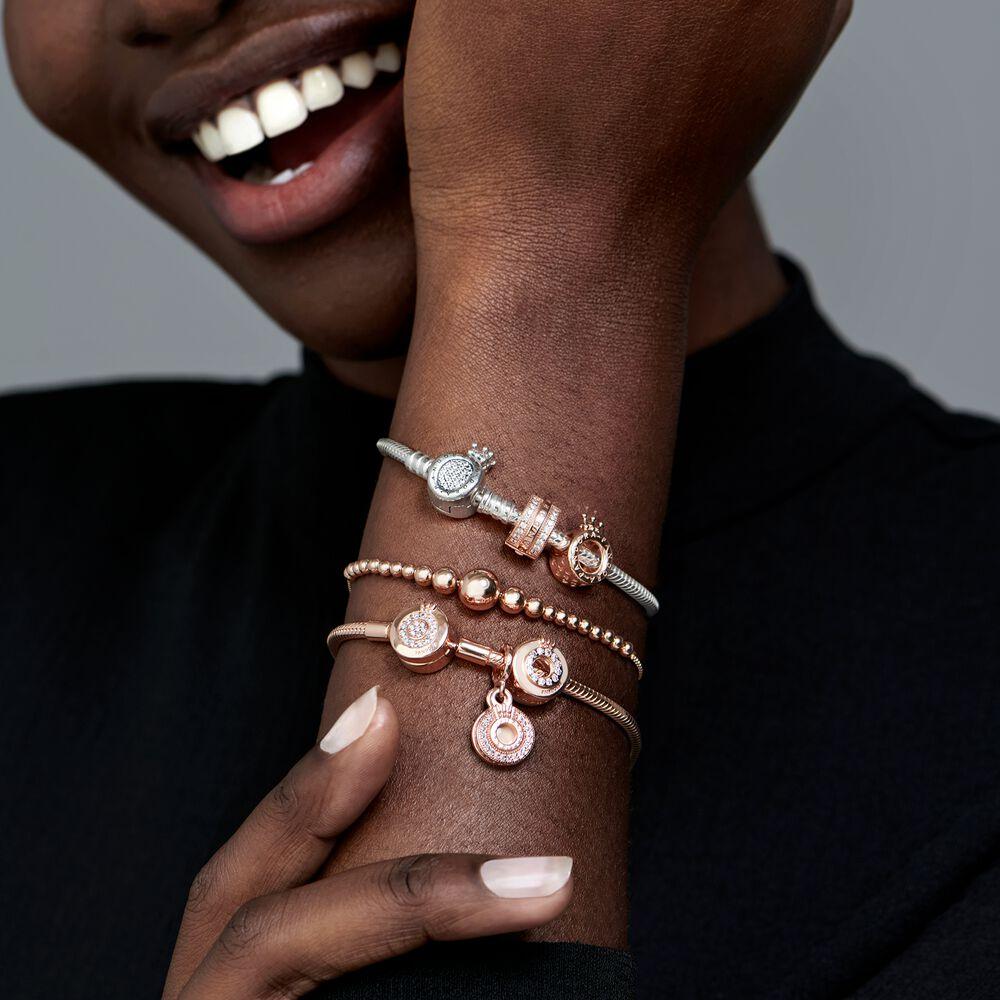 Pandora Moments Sparkling Crown O Snake Chain Bracelet | Rose gold ...
