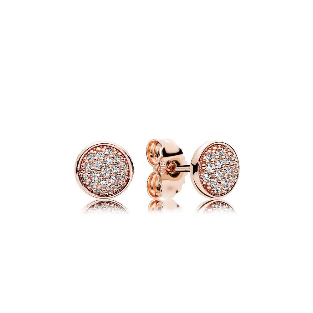 Dazzling Droplets Stud Earrings Pandora Rose Clear Cz