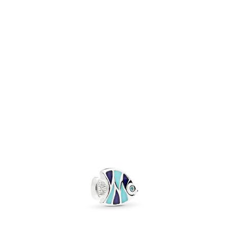 Tropical Fish Petite Locket Charm, Sterling silver, Enamel, Blue, Cubic Zirconia - PANDORA - #792181ENMX