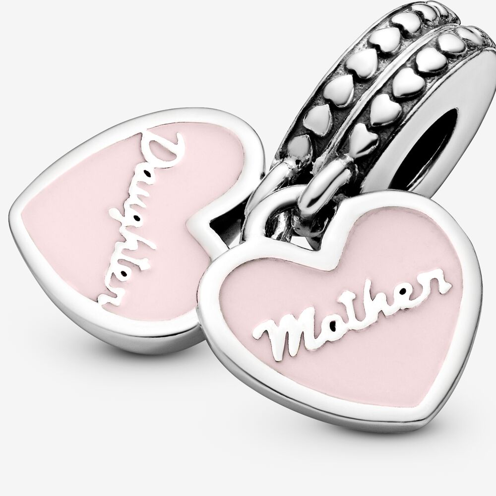 Mother Daughter Hearts Dangle Charm With Clear Cz Sterling Silver Pandora Us