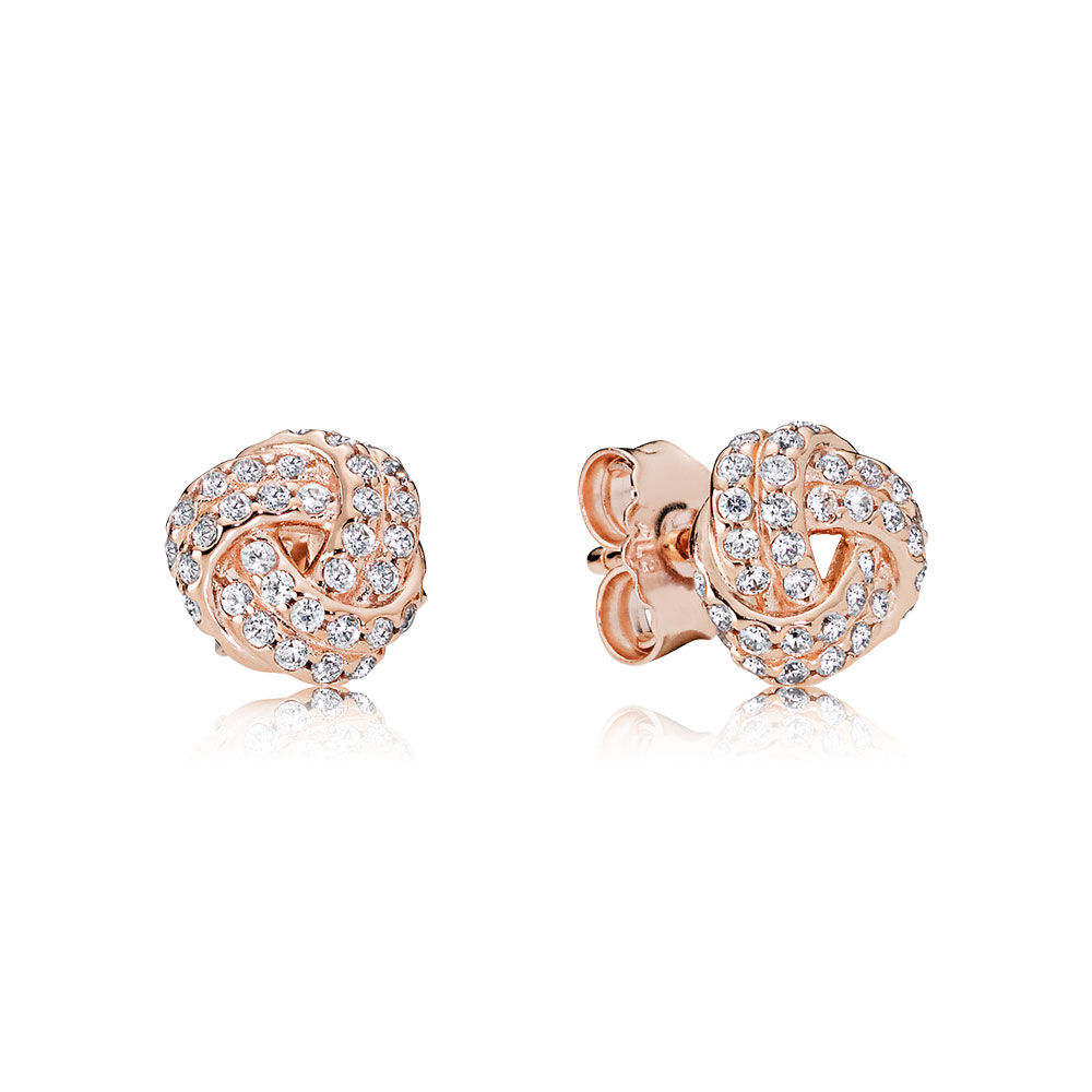 Sparkling Love Knot Stud Earrings Pandora Rose Clear Cz
