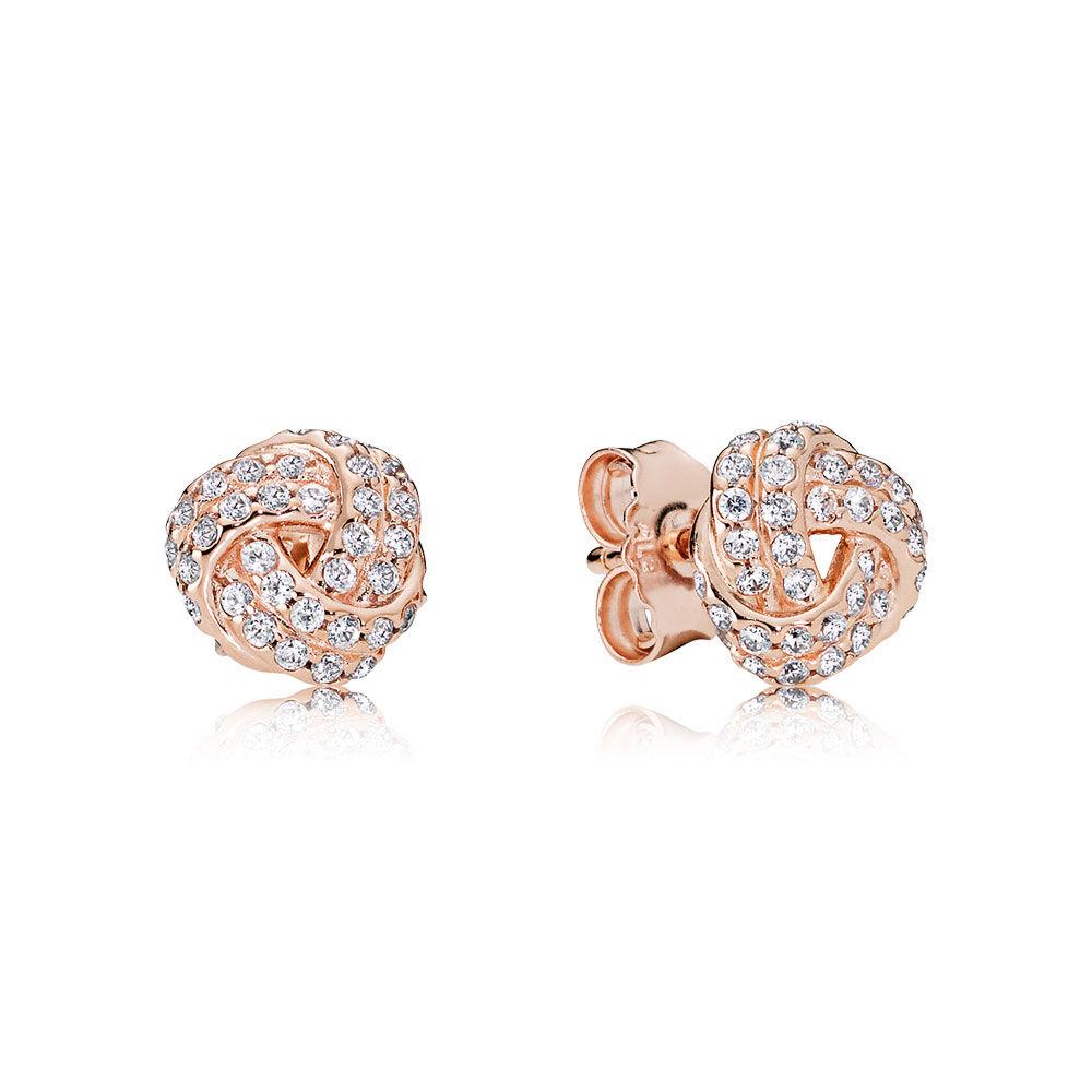 Pandora Diamond Stud Earrings: Sparkling Love Knot Stud Earrings, PANDORA Rose™ & Clear