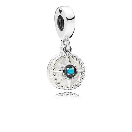 Compass Rose Dangle Charm, Silver Enamel & Cyan Blue Crystal