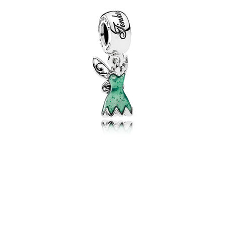 Disney, Tinker Bell's Dress Dangle Charm, Glittering Green Enamel