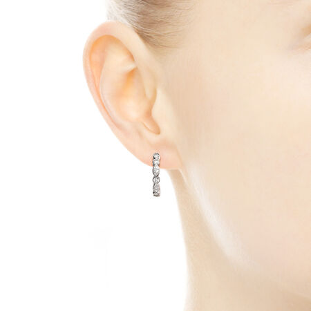 Alluring Brilliant Marquise Hoop Earrings, Clear CZ