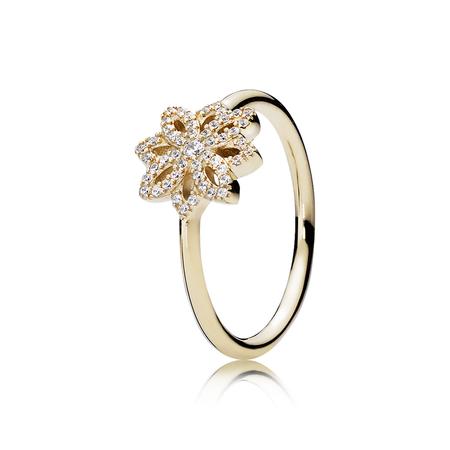 Lace Botanique Ring, Clear CZ & 14K Gold