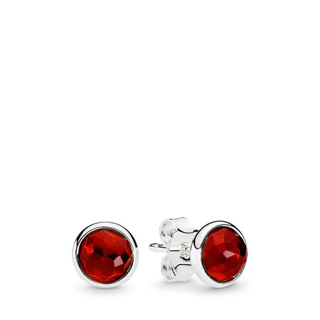 July Droplets Stud Earrings, Synthetic Ruby, Sterling silver, Red, Synthetic Ruby - PANDORA - #290738SRU
