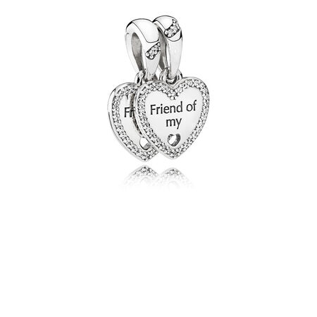 Hearts of Friendship Dangle Charm, Clear CZ