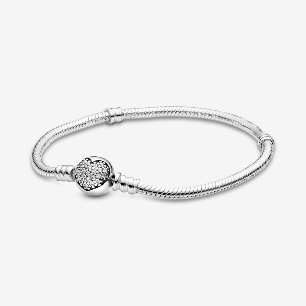 Moments Silver Bracelet, Sparkling Heart