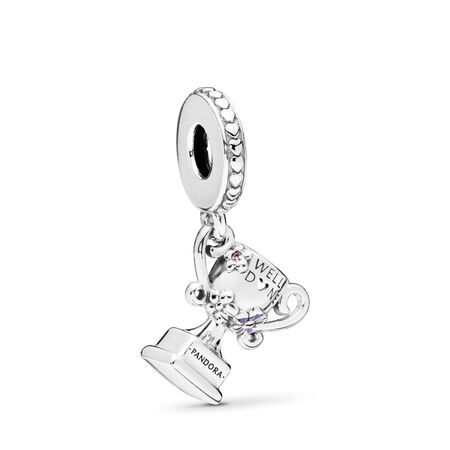 Achievement Trophy Dangle Charm, Pink Crystal & Lilac Enamel, Sterling silver, Enamel, Pink, Crystal - PANDORA - #797257NPR