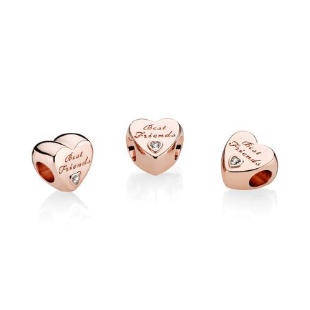 Friendship Heart Charm, PANDORA Rose™ & Clear CZ