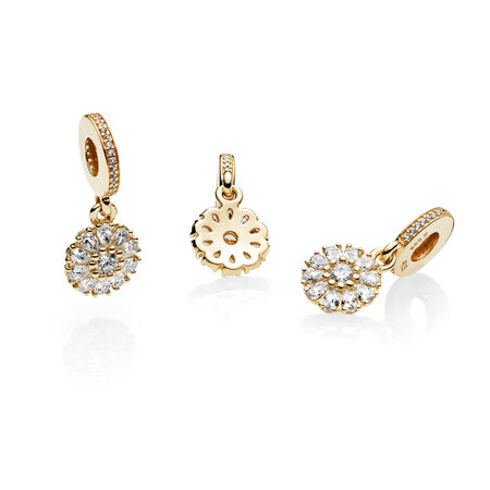 Embellished Floral Dangle Charm, 14K Gold & Clear CZ