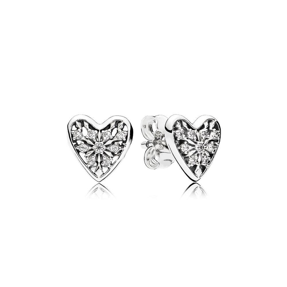 Hearts Of Winter Stud Earrings Clear Cz Pandora Jewelry Us