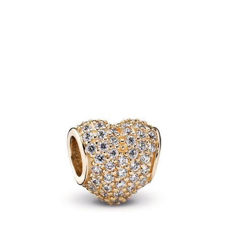 Pavé Heart Charm, Clear CZ & 14K Gold, Yellow Gold 14 k, Cubic Zirconia - PANDORA - #750828CZ