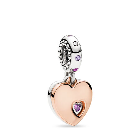 Two Hearts Dangle Charm, PANDORA Rose with sterling silver, Pink, Mixed stones - PANDORA - #787235CFP