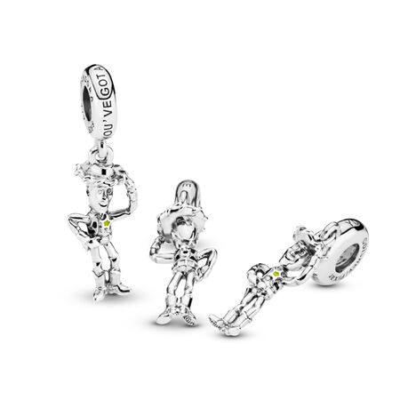 Disney Pixar, Toy Story, Woody Dangle Charm, Sterling silver, Enamel, Black - PANDORA - #798041ENMX
