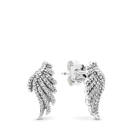 b7fe801b2 Majestic Feathers Stud Earrings, Clear CZ, Sterling silver, Cubic Zirconia  - PANDORA -