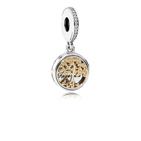 Family Roots Dangle Charm, Clear CZ