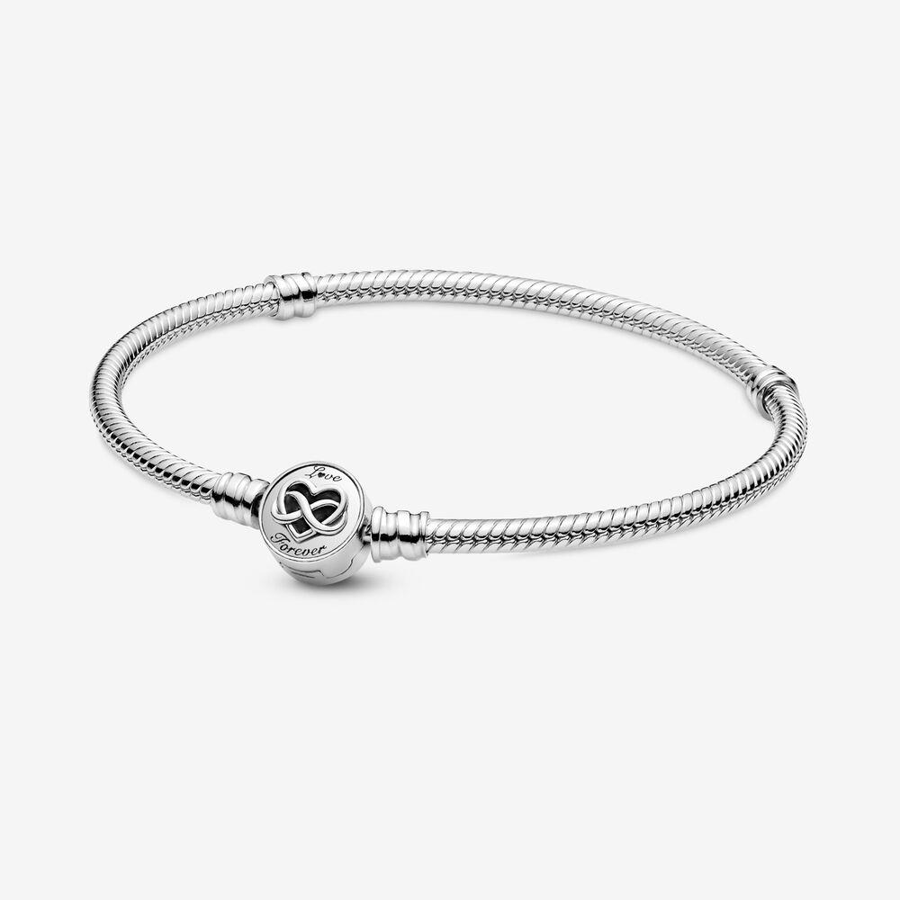 Pandora Moments Heart Infinity Clasp Snake Chain Bracelet ...