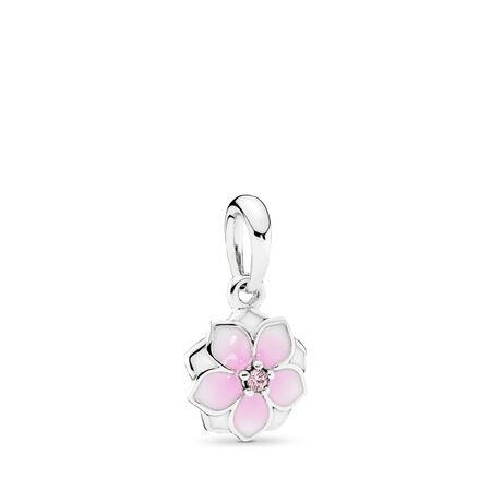Magnolia Bloom Dangle Charm, Pale Cerise Enamel & Pink CZ, Sterling silver, Enamel, Pink, Cubic Zirconia - PANDORA - #792086PCZ