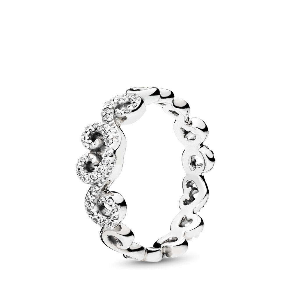 6a3ac2005 Heart Swirls Ring, Clear CZ, Sterling silver, Cubic Zirconia - PANDORA - #