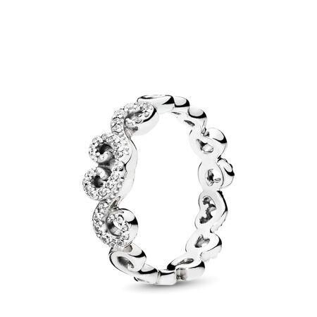 Heart Swirls Ring, Clear CZ