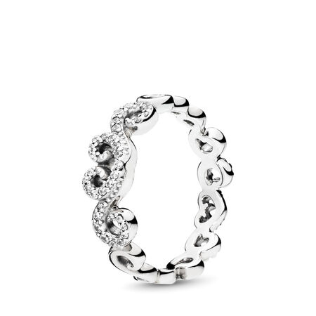 c413e5987 Heart Swirls Ring, Clear CZ Sterling silver, Cubic Zirconia