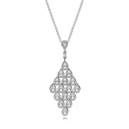Cascading Glamour Necklace & Pendant, Clear CZ