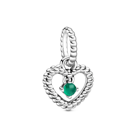 Heart sterling silver dangle with rainforest green crystal