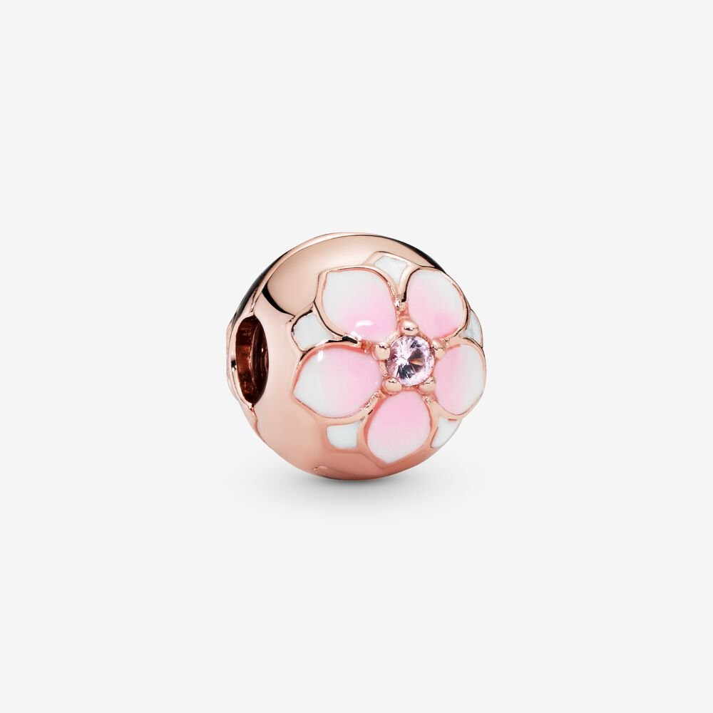 Round Pink Magnolia Flower Charm