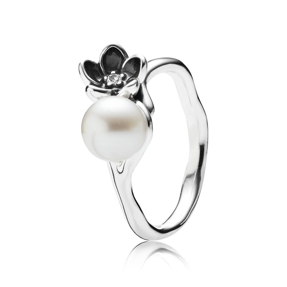 9bcaf52d0 Mystic Floral Ring, Pearl & Black Enamel, Sterling silver, Enamel, Mixed  stones