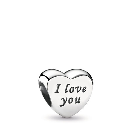 Words Of Love Engraved Heart Charm, Sterling silver - PANDORA - #791422