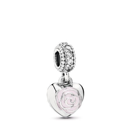 Mother's Rose Dangle Charm, Pink Enamel & Clear CZ, Sterling silver, Enamel, Pink, Cubic Zirconia - PANDORA - #791528EN40