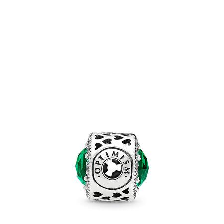 OPTIMISM Charm, Royal Green Crystals & Clear CZ