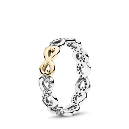 Infinite Love Stackable Ring, Clear CZ, Two Tone, Cubic Zirconia - PANDORA - #190948CZ