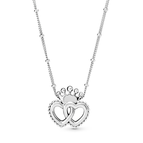 Crown & Interwined Hearts Pendant Necklace