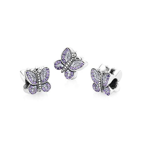 Sparkling Butterfly Charm, Purple CZ