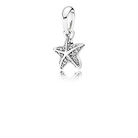 Tropical Starfish Pendant, Clear CZ