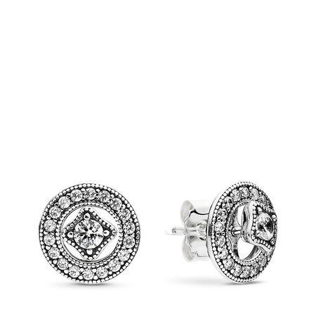 Vintage Allure Stud Earrings, Clear CZ, Sterling silver, Cubic Zirconia - PANDORA - #290721CZ