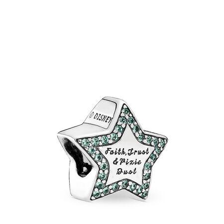 Disney, Tinker Bell Star Charm, Green CZ, Sterling silver, Green, Crystal - PANDORA - #791920NPG