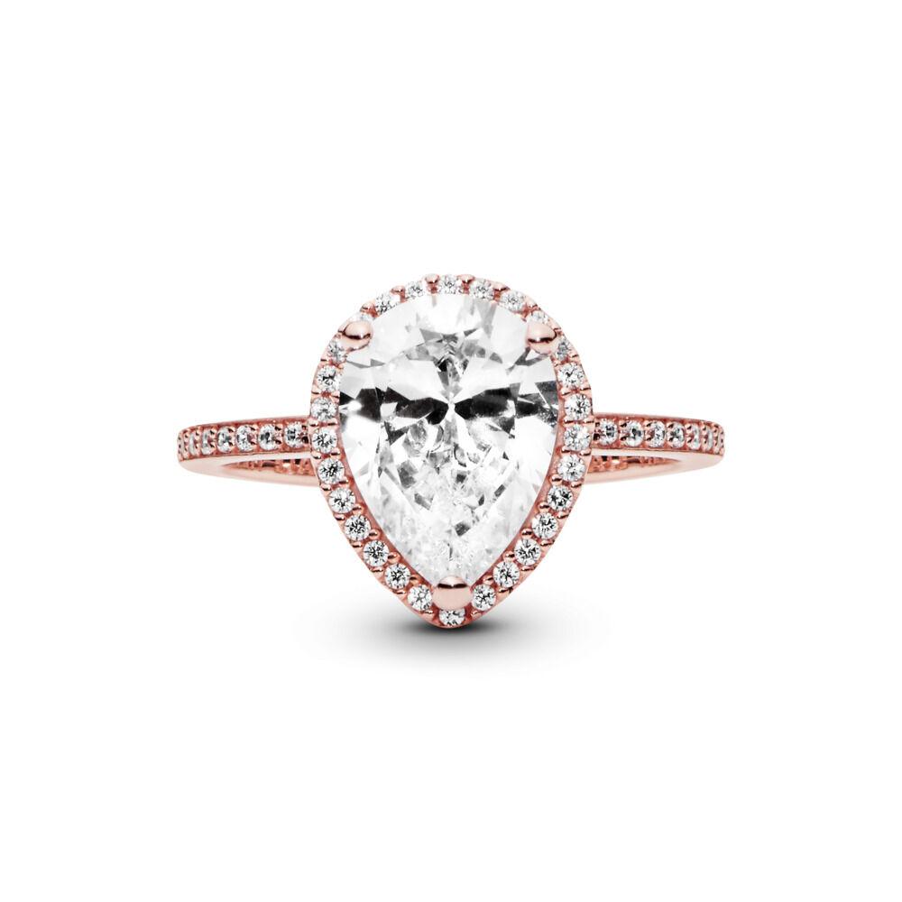 Radiant Teardrop Ring, PANDORA Rose™ & Clear CZ