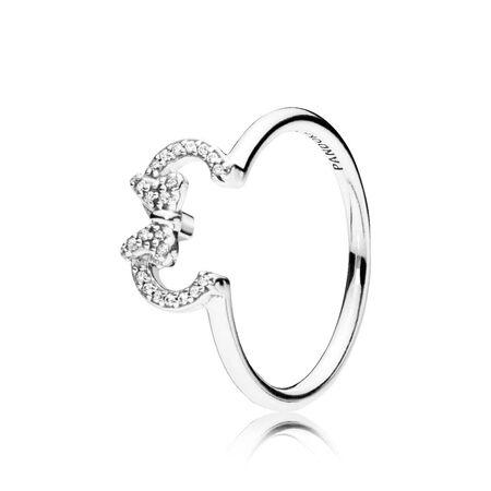 Disney, Minnie Silhouette Ring, Clear CZ