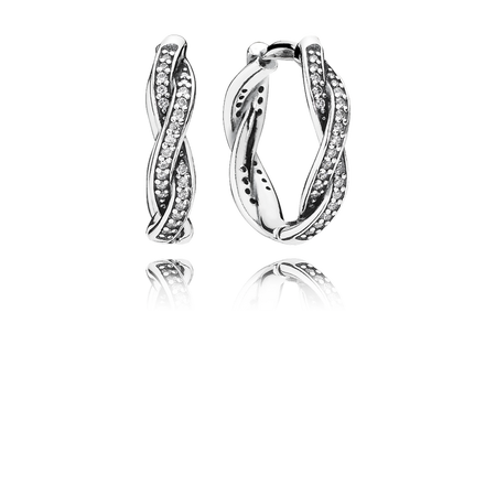 Twist Of Fate Hoop Earrings, Clear CZ