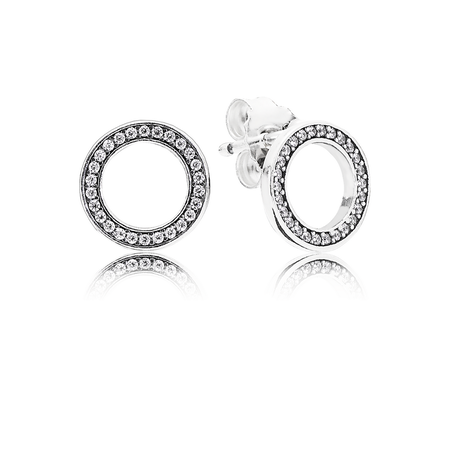 Forever PANDORA Stud Earrings, Clear CZ