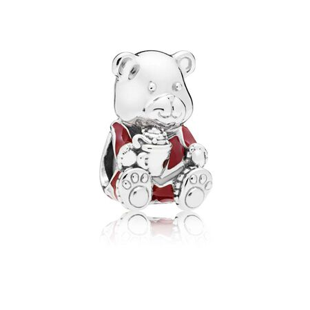 Christmas Bear Charm, Red & White Enamel