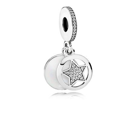 Friendship Star Dangle Charm, Silver Enamel & Clear CZ